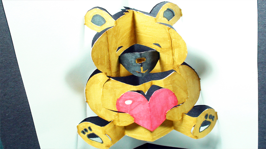 How to make a Teddy Bear: Pop-Up Card (Kirigami 3D) Valentine's Day Greeting - TCGames [HD]!
