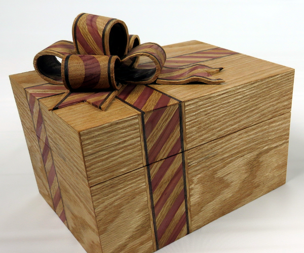 Ribbon Box With Candy Cane Striped Inlay