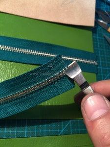 Make Zipper of Inner Pocket - Cut Off Redundant Elements, Install Bottom Stop and Slider, Install Top Stops.