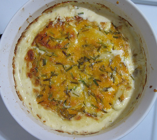 Cheddar and chive scalloped potatoes!