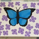 Wooden Canvas Butterfly Painting