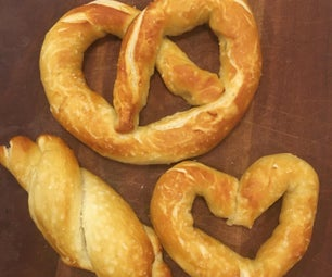 Homemade Pretzel Shapes With Sauces