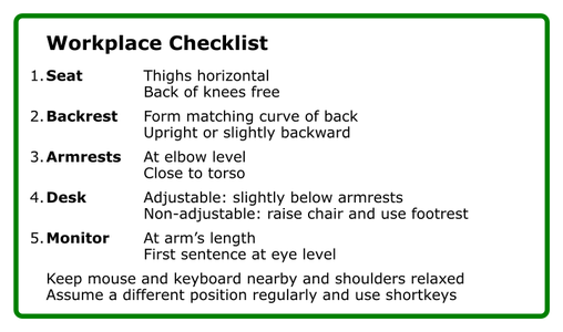 Ergonomic Background of the Workplace Checklist