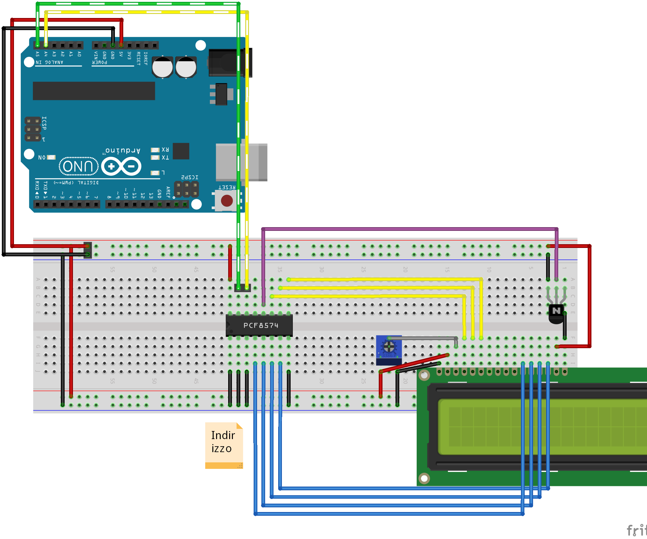 Character LCD I2c Adapter (I2c Connection Example)