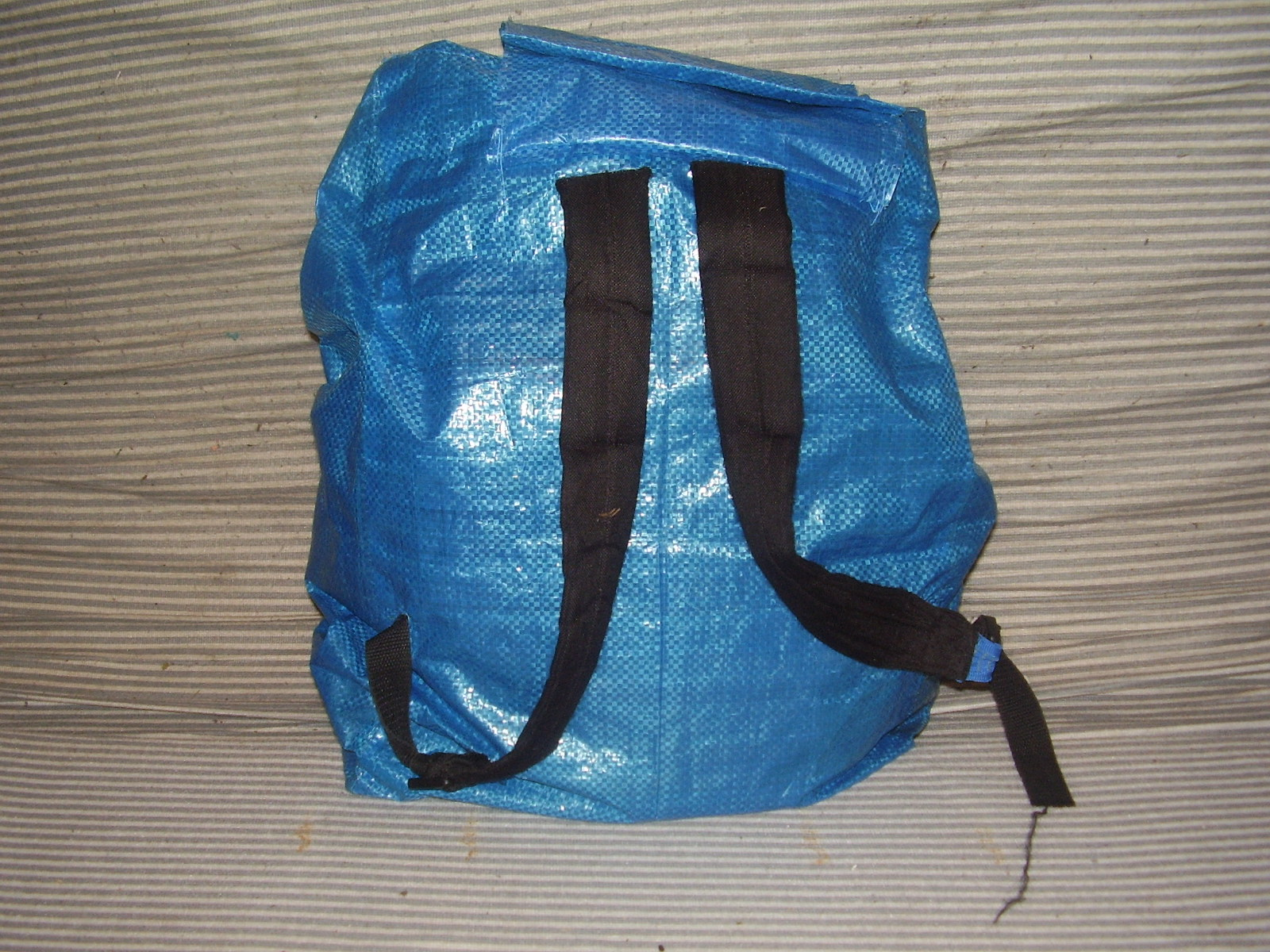 Recycled ikea-bag backpack