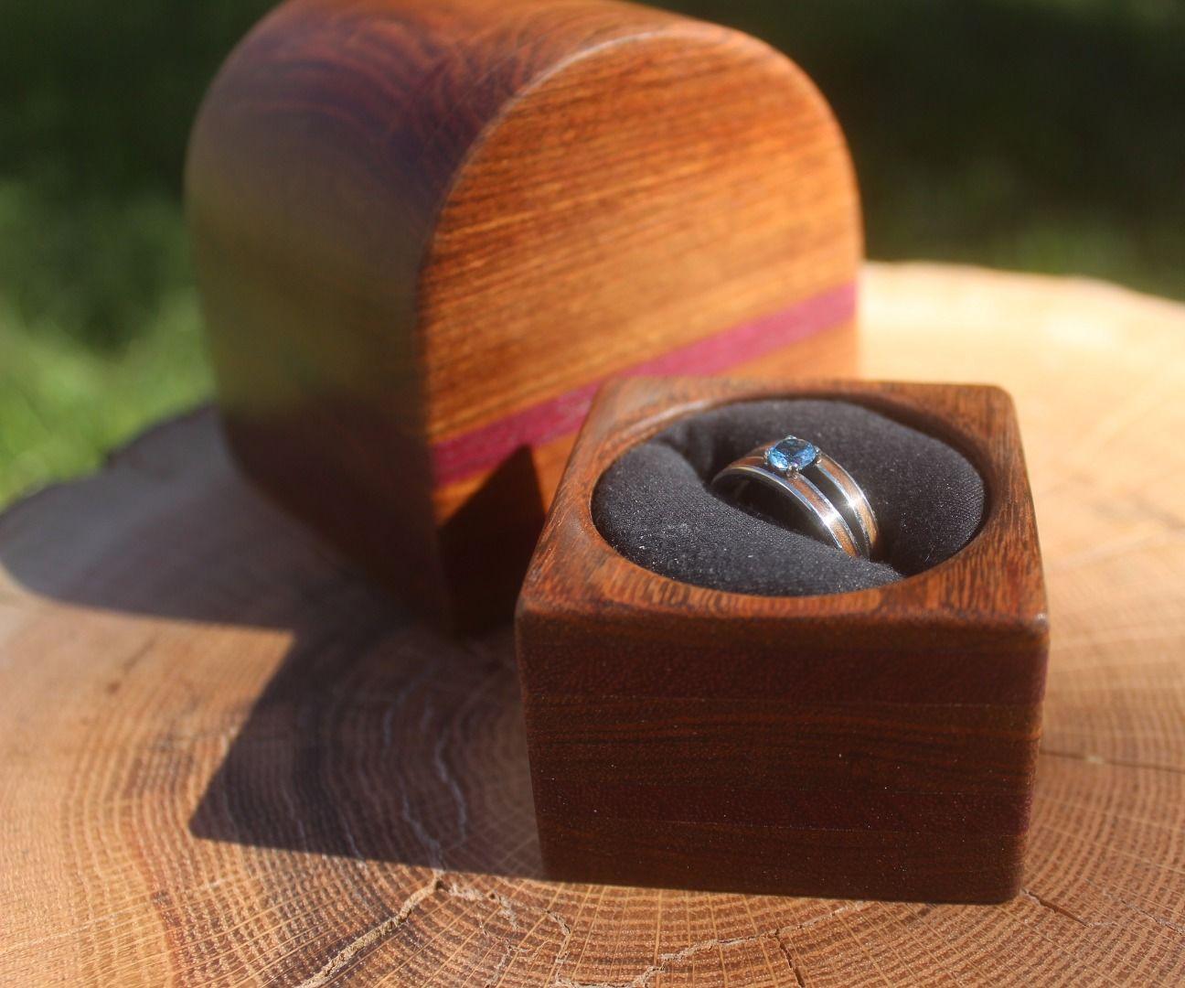 "Treasure Chest Shaped ""Bandsaw Box"" Engagement Ring Box"