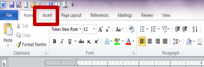 Choose the Insert Tab at the Top of the Program.