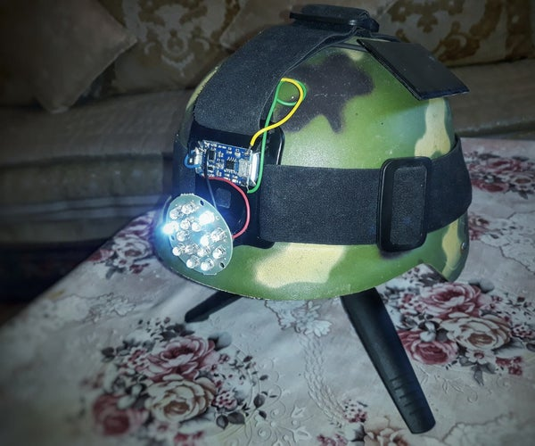 Solar Powered Helmet Led Light