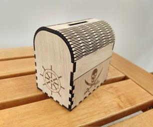 Laser Cut Treasure Chest Money Box