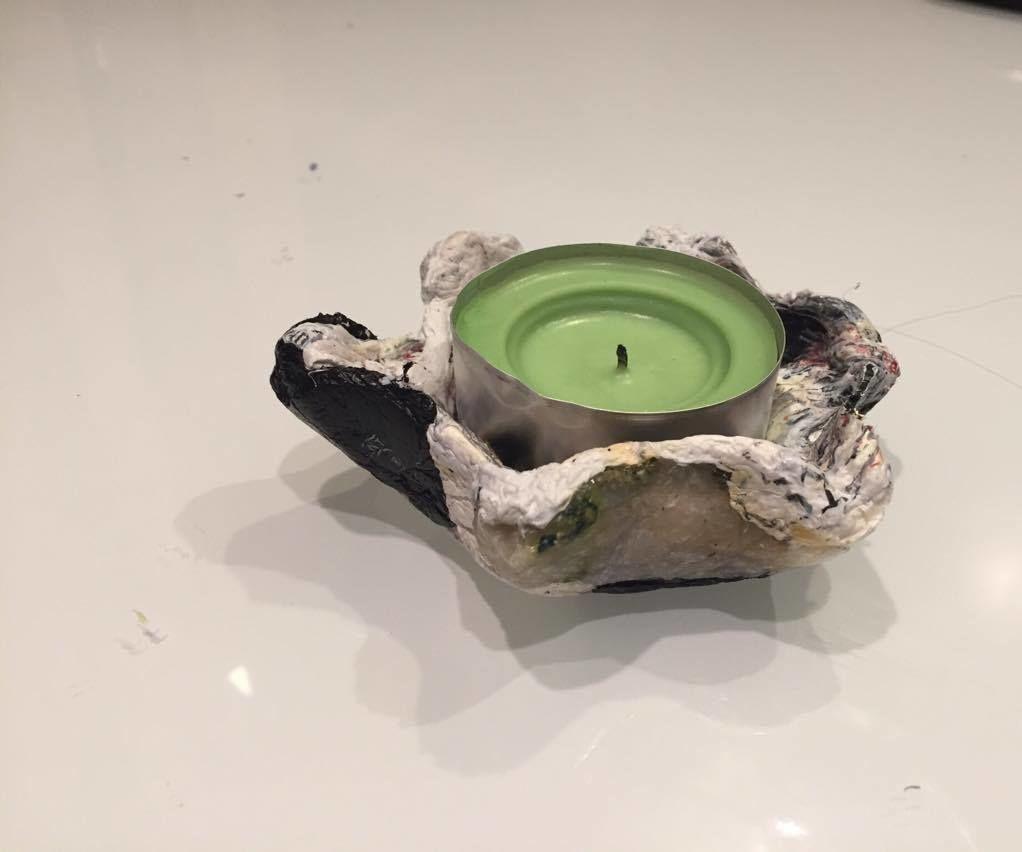 Melt Plastic Bags Into Tea Light Candle Holder