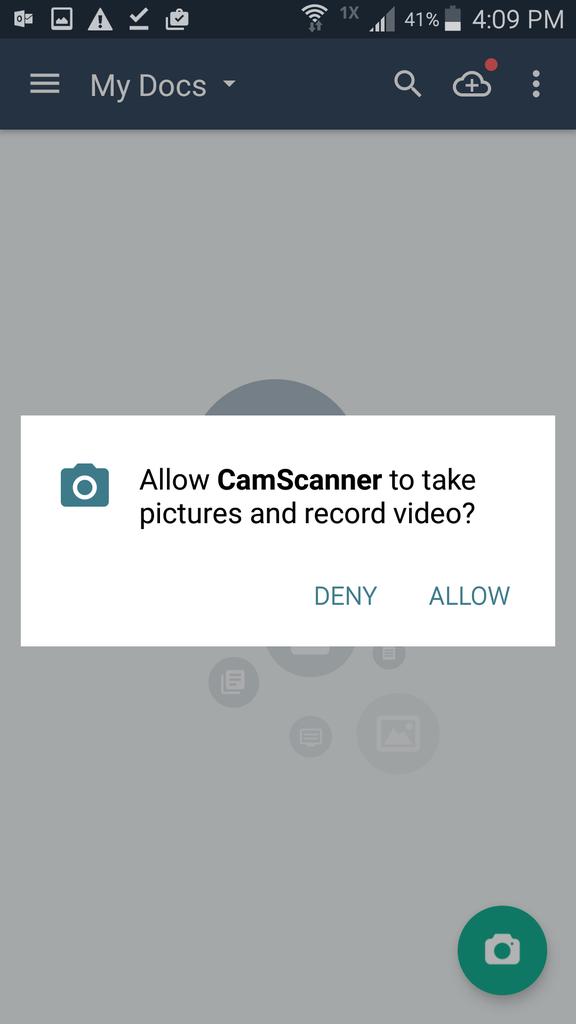 CamScanner Camera Permissions