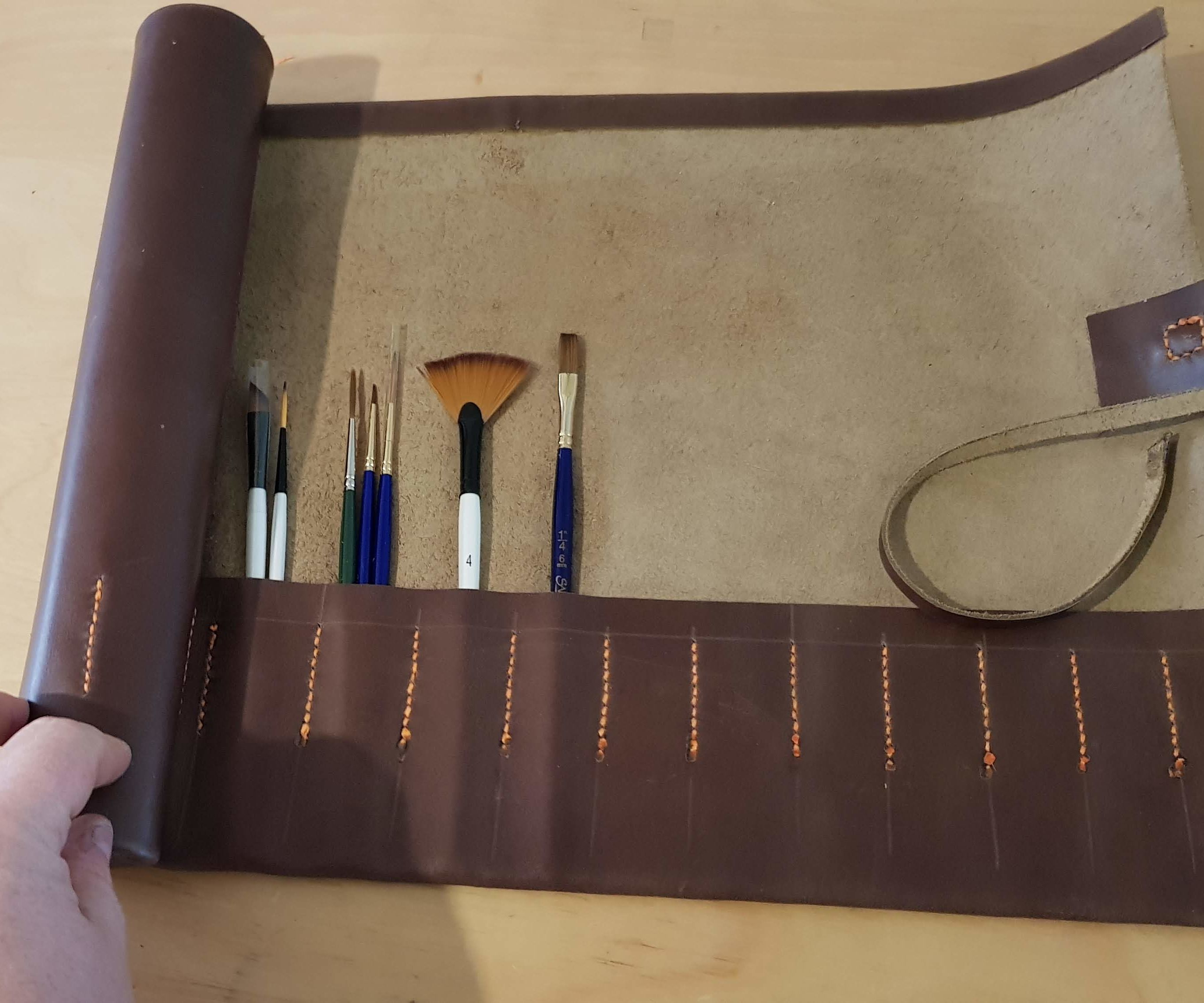 Leather Brush Scroll / Brush Roll