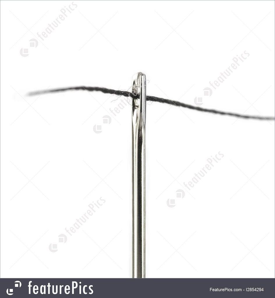Thread Needle and Stitch Around Sticker Perimeter