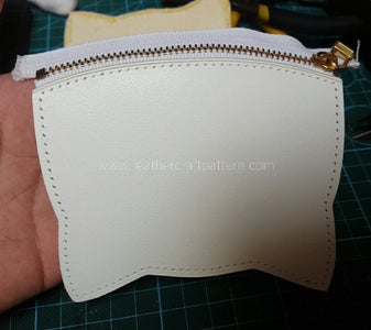 Cut All Leather Pieces From Acrylic Pattern and Punch Stitching Holes by Chisel, Here I Draw Some Decoration Lines Already, Sew One Side Cloth on Back Piece.