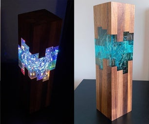 Epoxy Resin and Walnut LED Night Lamp
