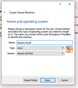 Name Your Virtual Machine and Choose the Type of OS You Will Be Using.