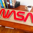 Wood and Metal NASA Sign