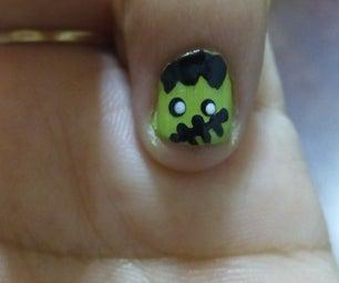 Halloween Inspired Nail Art (Frankenstein)