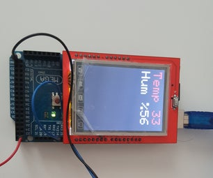 Arduino Mega + 2.4 TFT LCD Shield + DHT11 Temperature and Humidity Displaying
