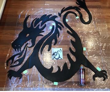 Glue Dragon Onto Clear Sheeting