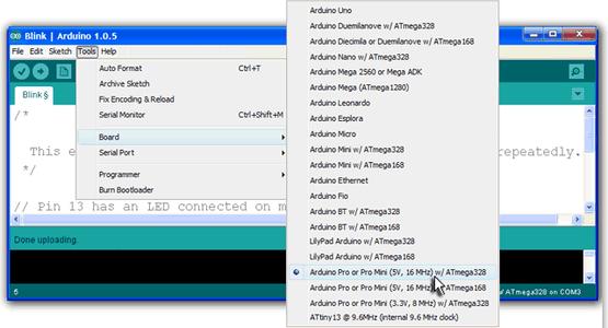 Select Board Type on Arduino IDE