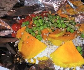 简单的豌豆蜂蜜和大豆酱蔬菜(如果你喜欢的话可以配三文鱼)