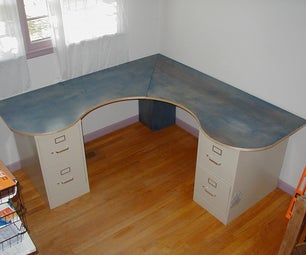 Wraparound Desk Made From One Sheet of Plywood, 2 Filing Cabinets