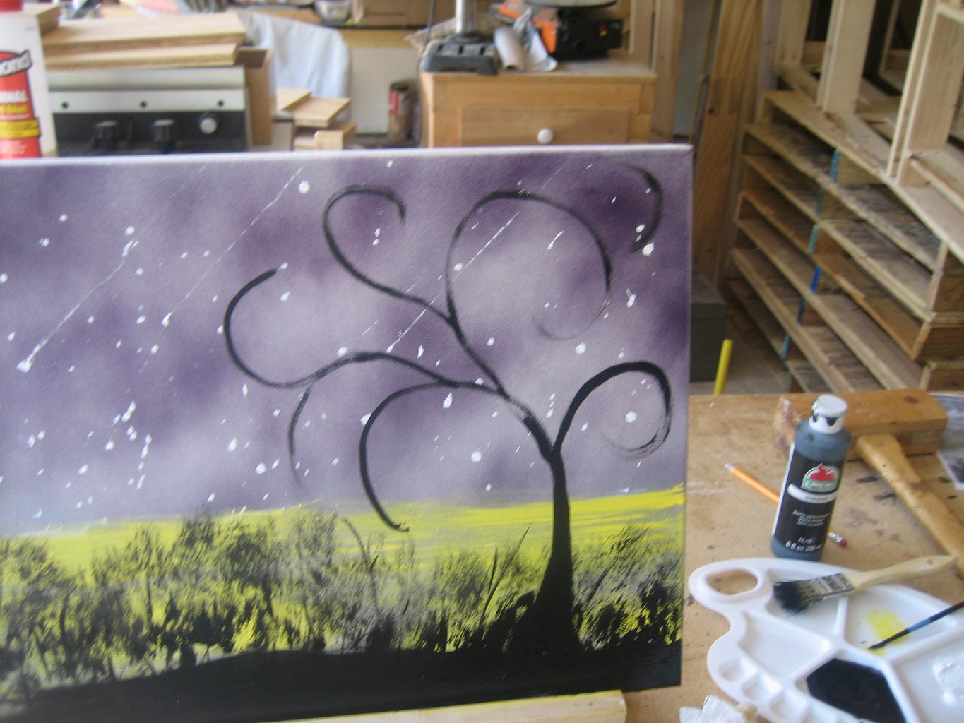 THE TREE, THE OWL, AND THE COMPLETED PAINTING