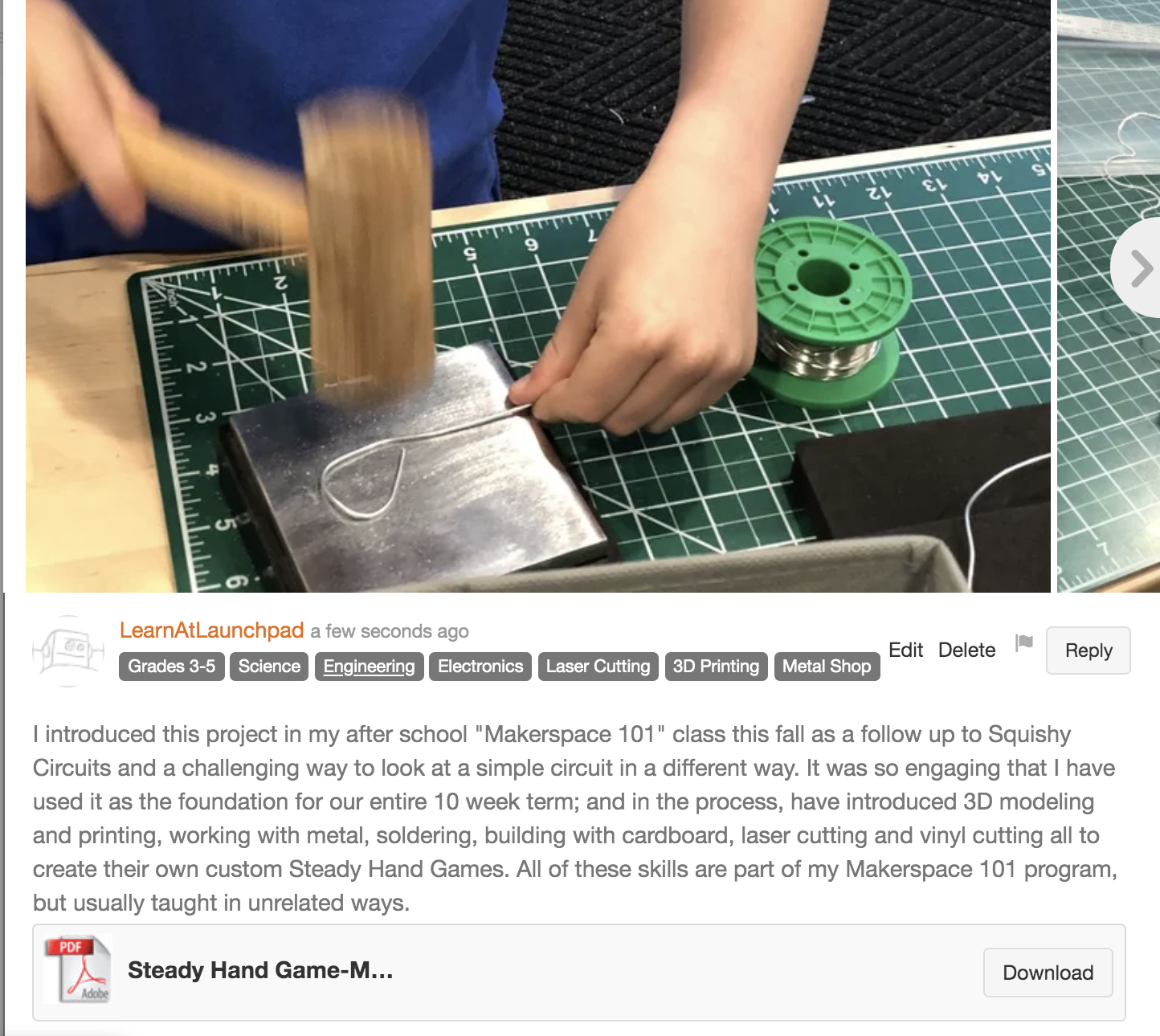 Using a Steady Hand Game for a Makerspace Unit