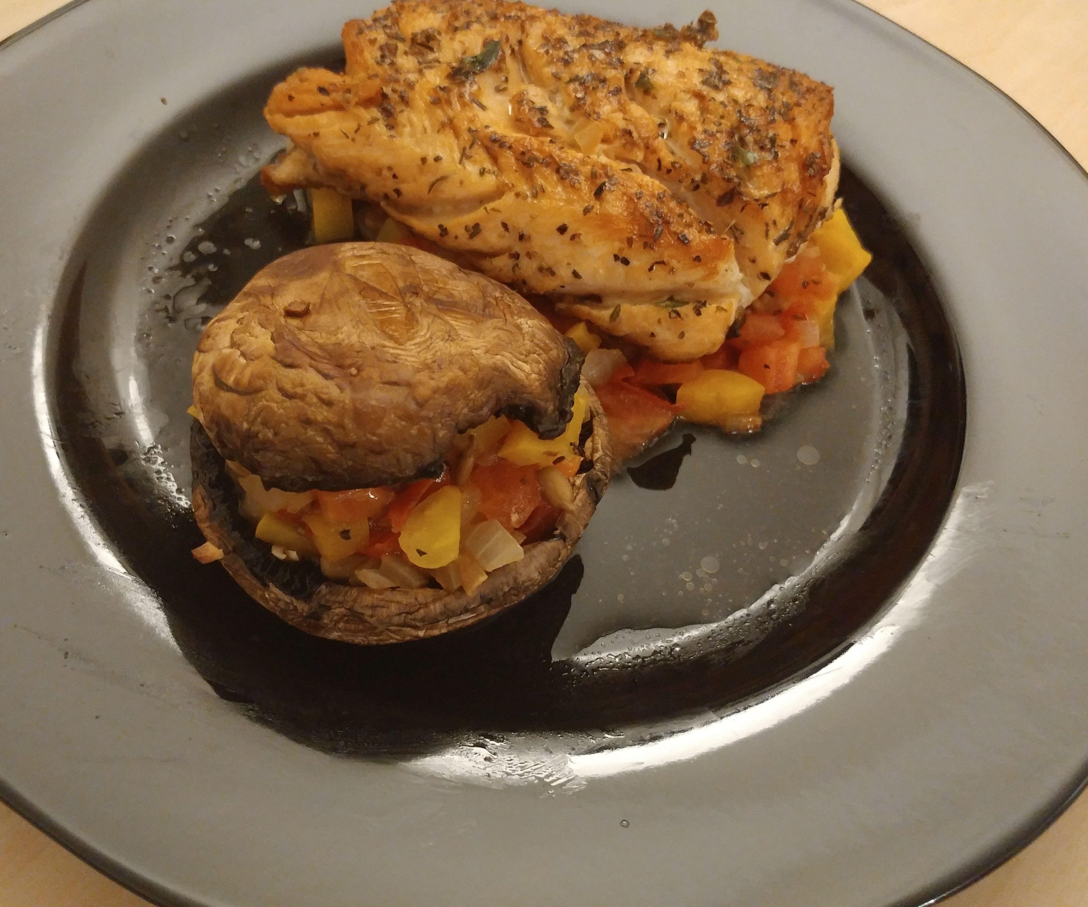 Portobello and Improvised Salsa Burger