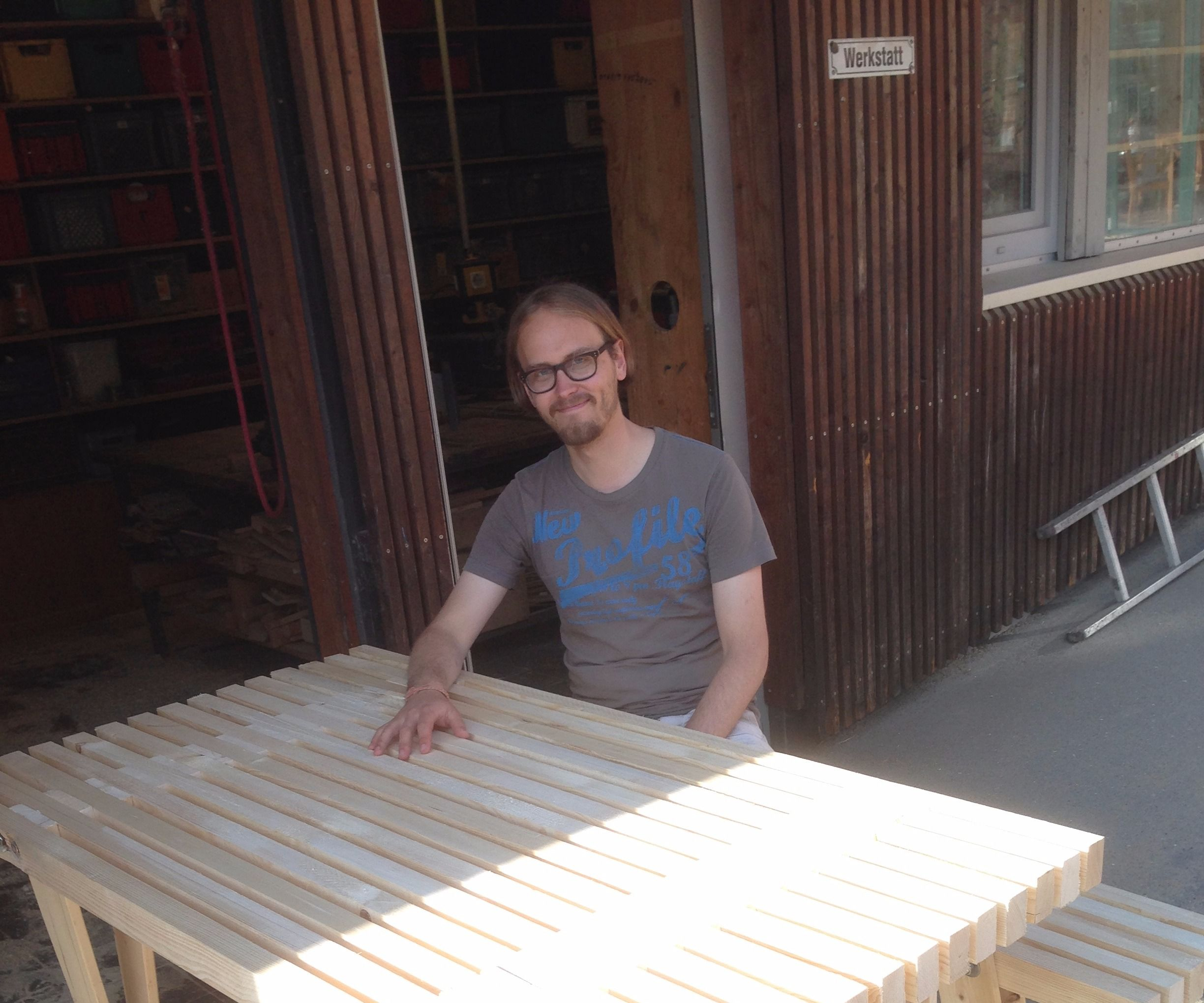 Outdoor Table and Bench With Tapered Legs