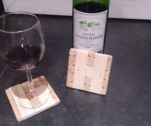 Monogram Wood and Cork Coasters