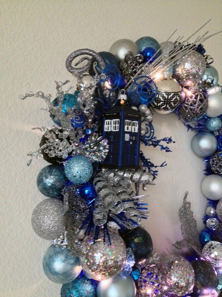 Lighted Tardis Ornament Wreath