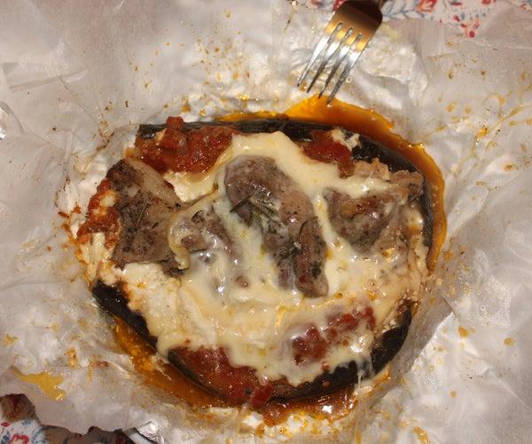 Pougia Me Melitzanes Kai Arnaki - Greek Style Eggplant and Lamb Meat Pouches