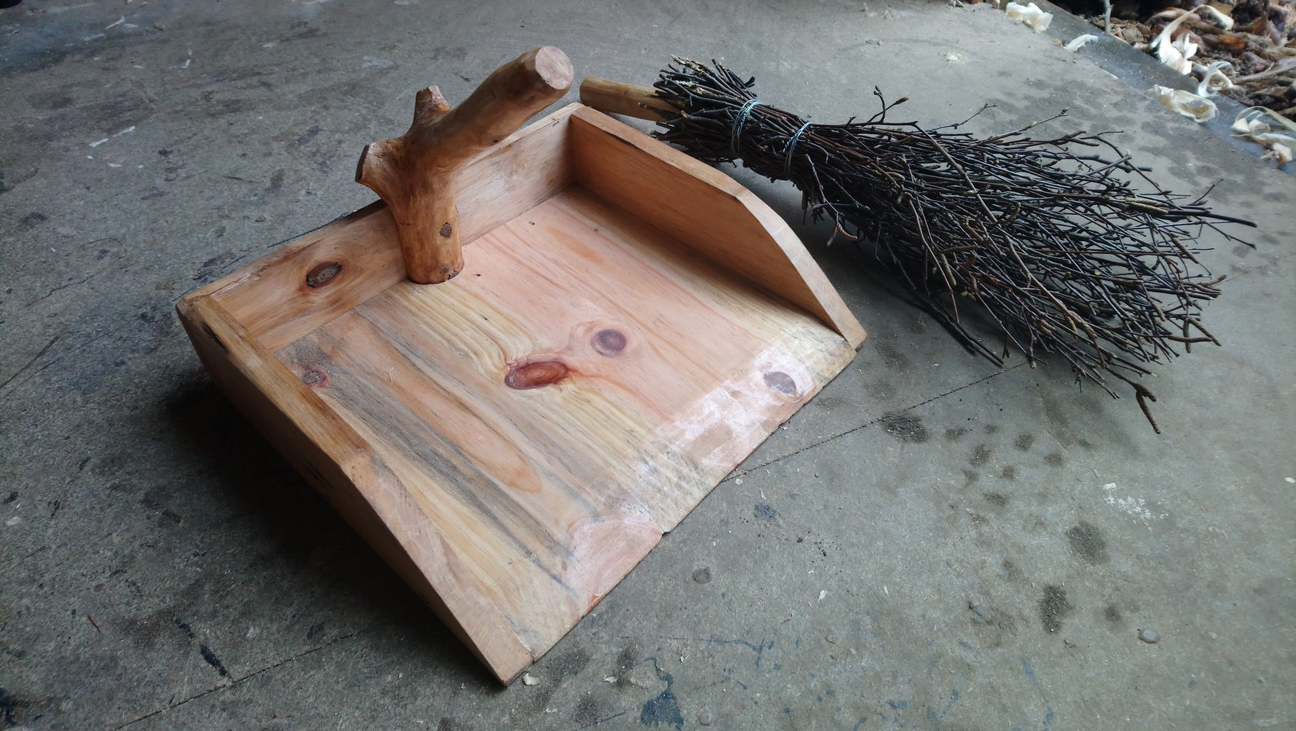 Wooden Brush and Dustpan