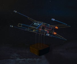 Wireframe X-Wing Clock