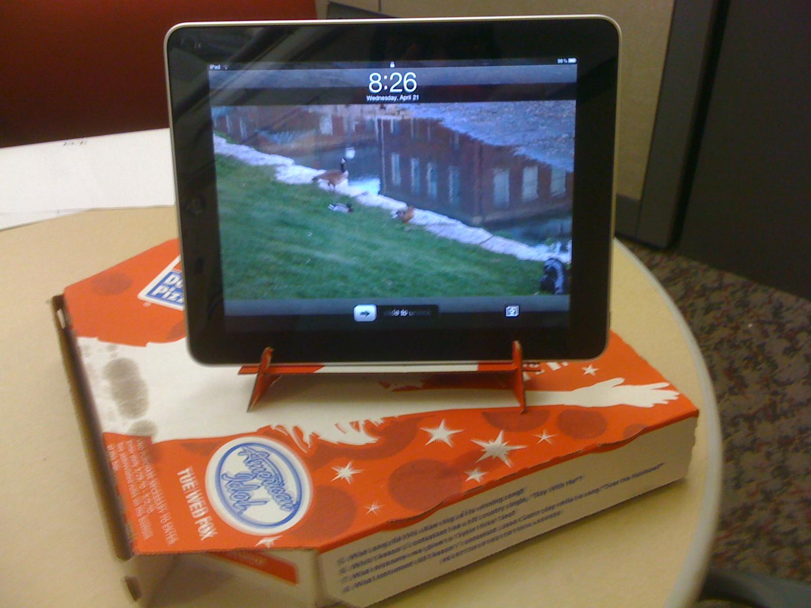 Pizza Box iPad Stand