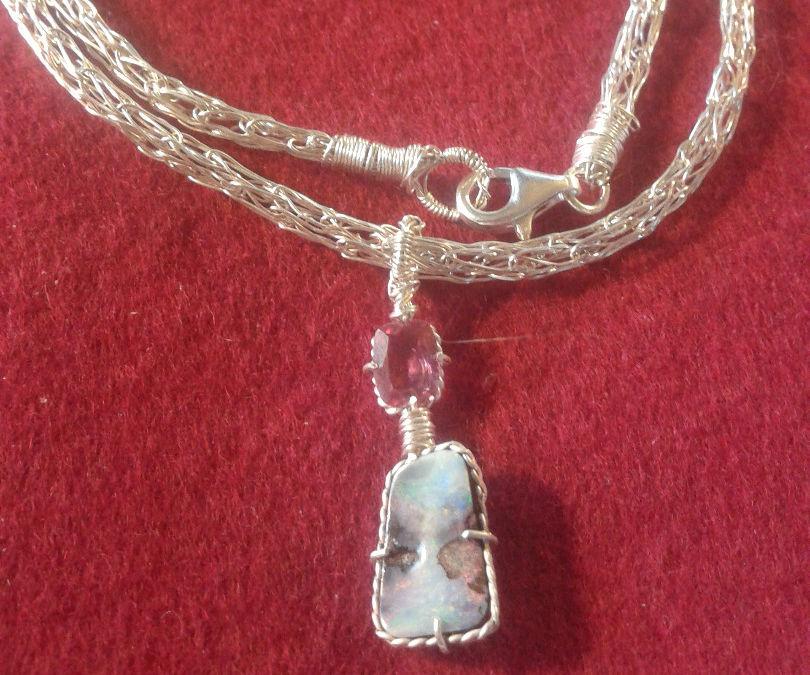 Woven Silver Necklas with Opal/Turmaline Pendant