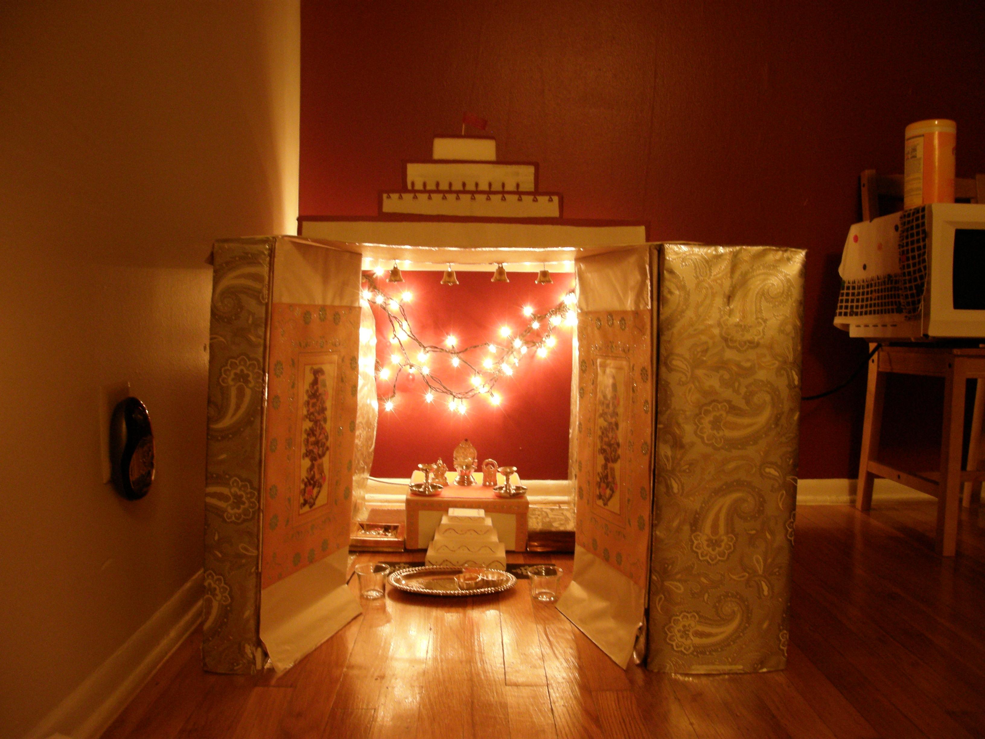 Cardboard temple/shrine at home.