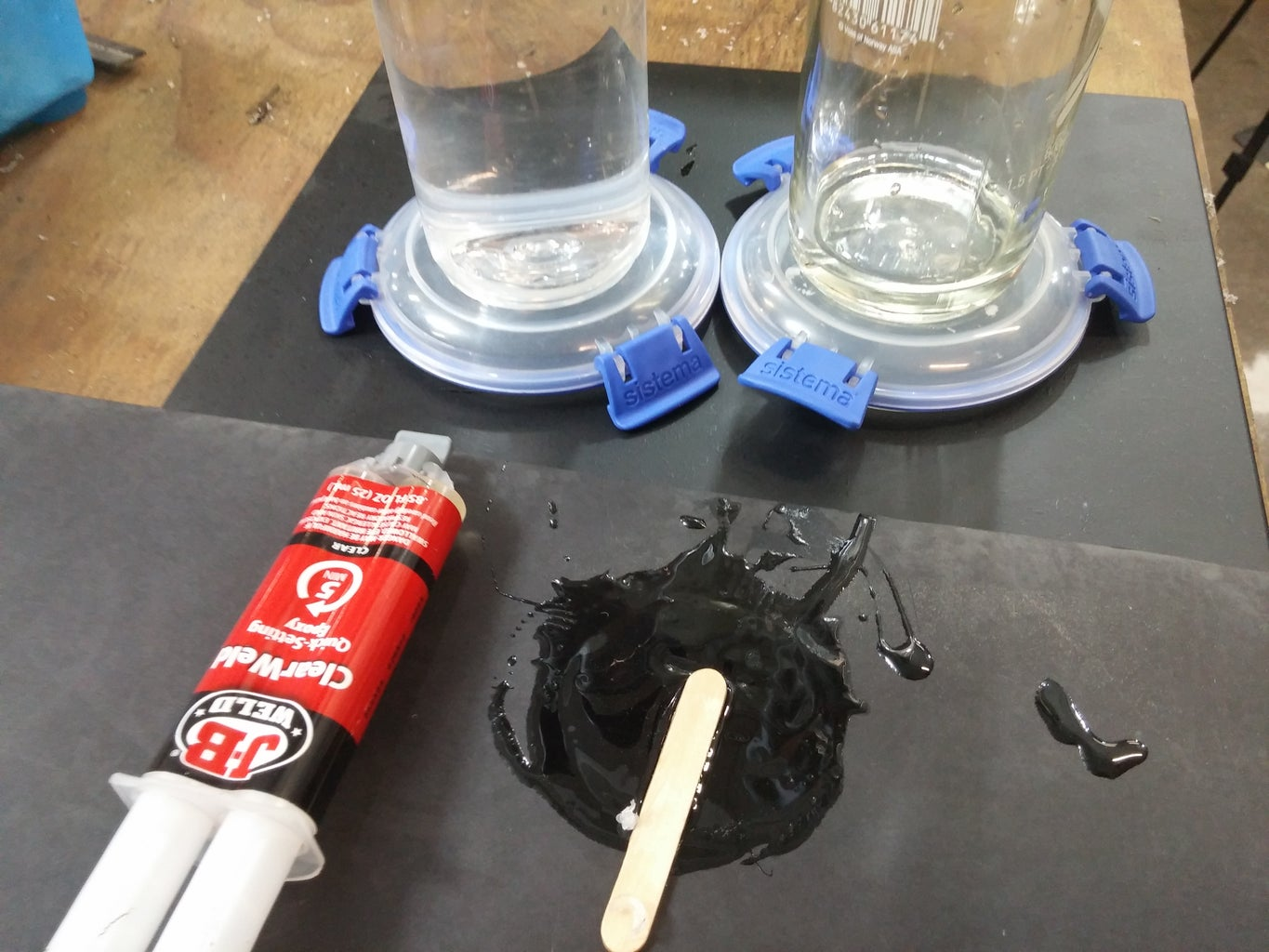 Gluing the Water Bottle to a Lid. Suggestion on Bottle Types