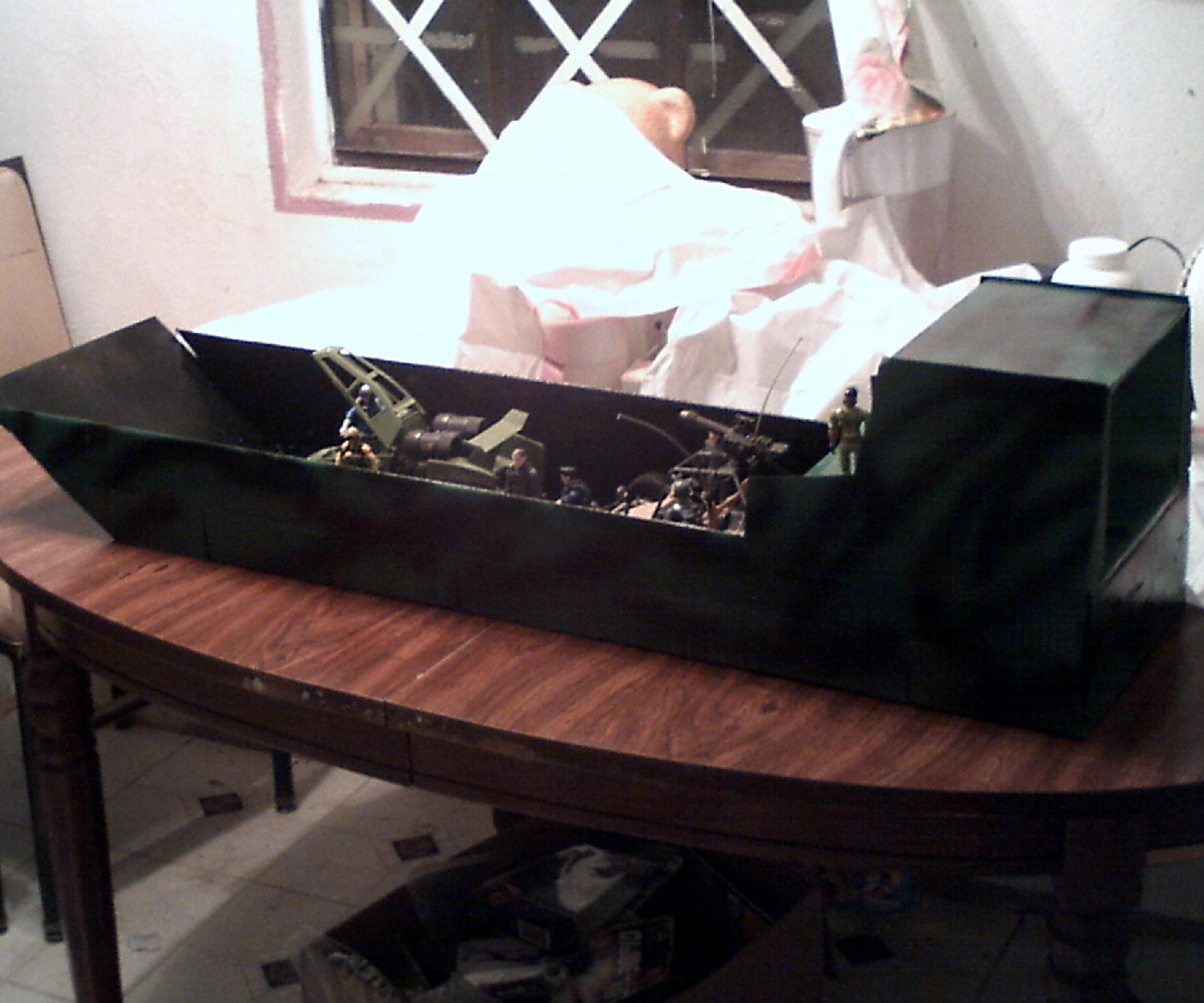Ship made from a cardboard box