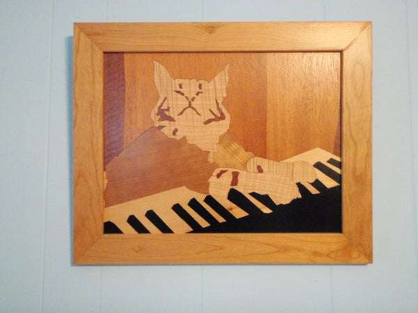 Keyboard Cat Marquetry