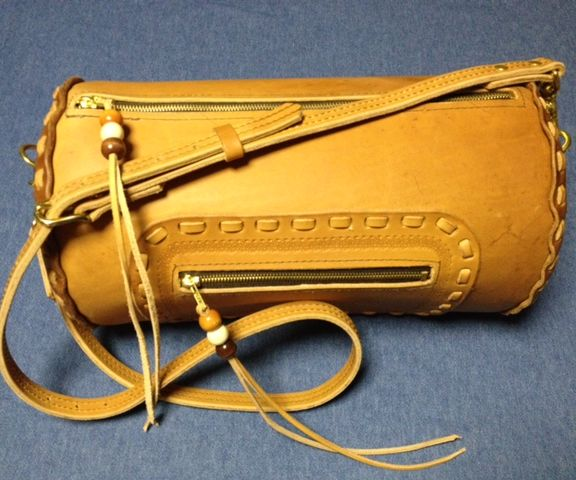 1960s Style Leather Duffel Bag
