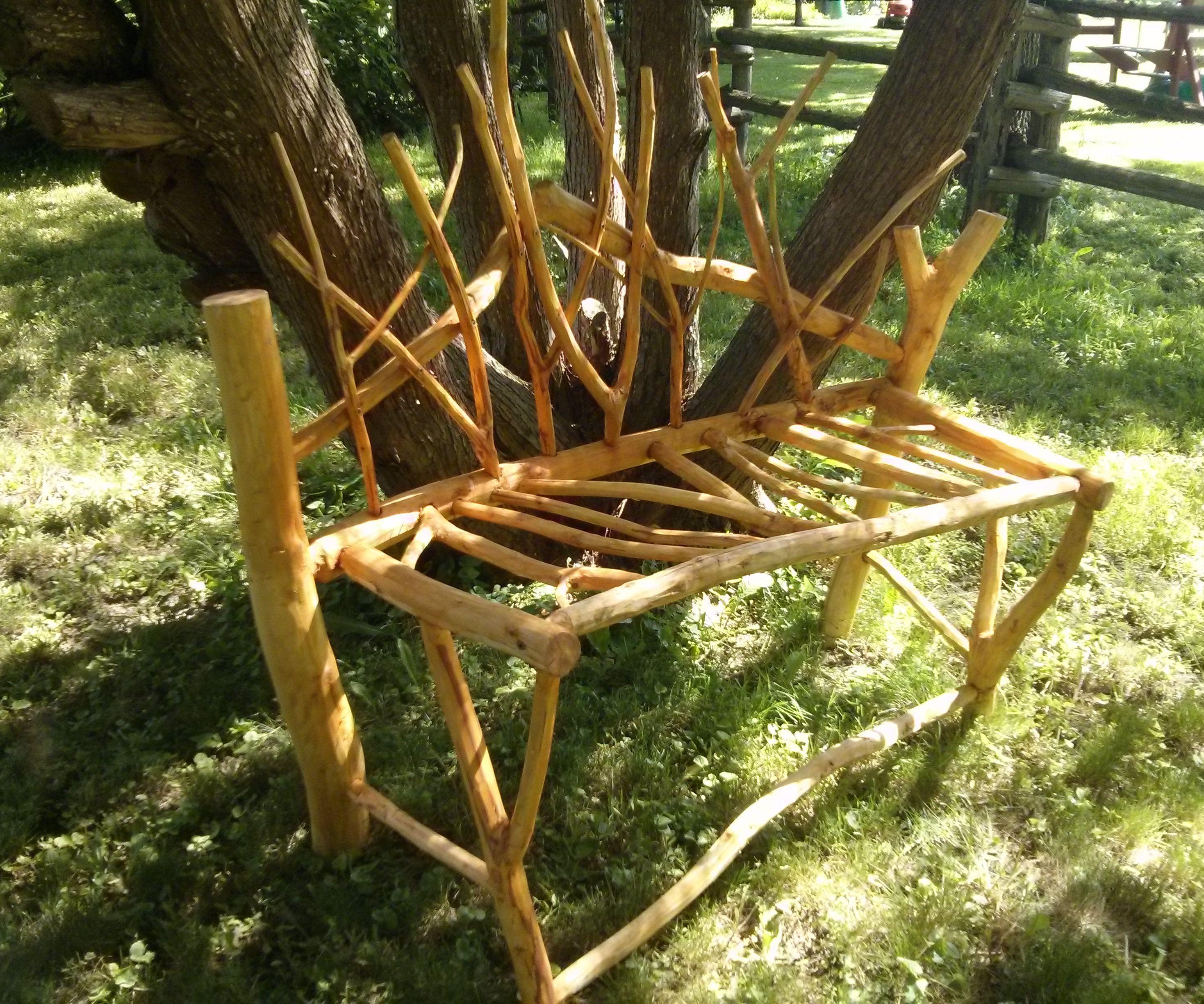 Decorative Garden Bench Made From Fallen Tree Limbs