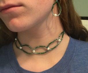 Elegant Beaded Choker/Earrings Set