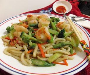Classic Asian Udon Noodles Stir Fry