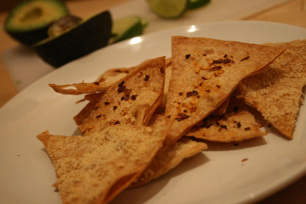 Spicy, Cheesy Tortilla Chips (or: How to Get Rid of Pizza Extras)