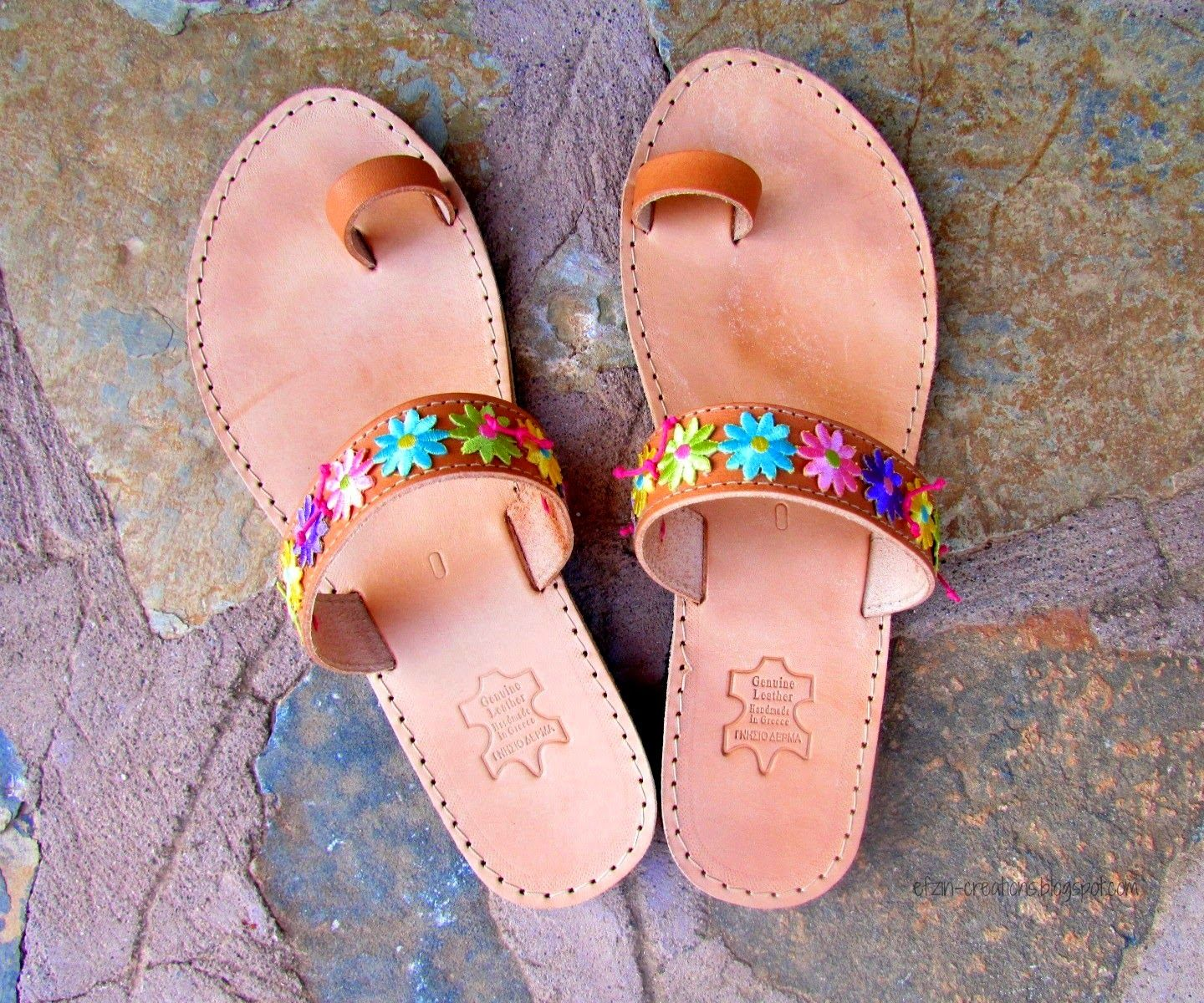 Floral Leather Sandals