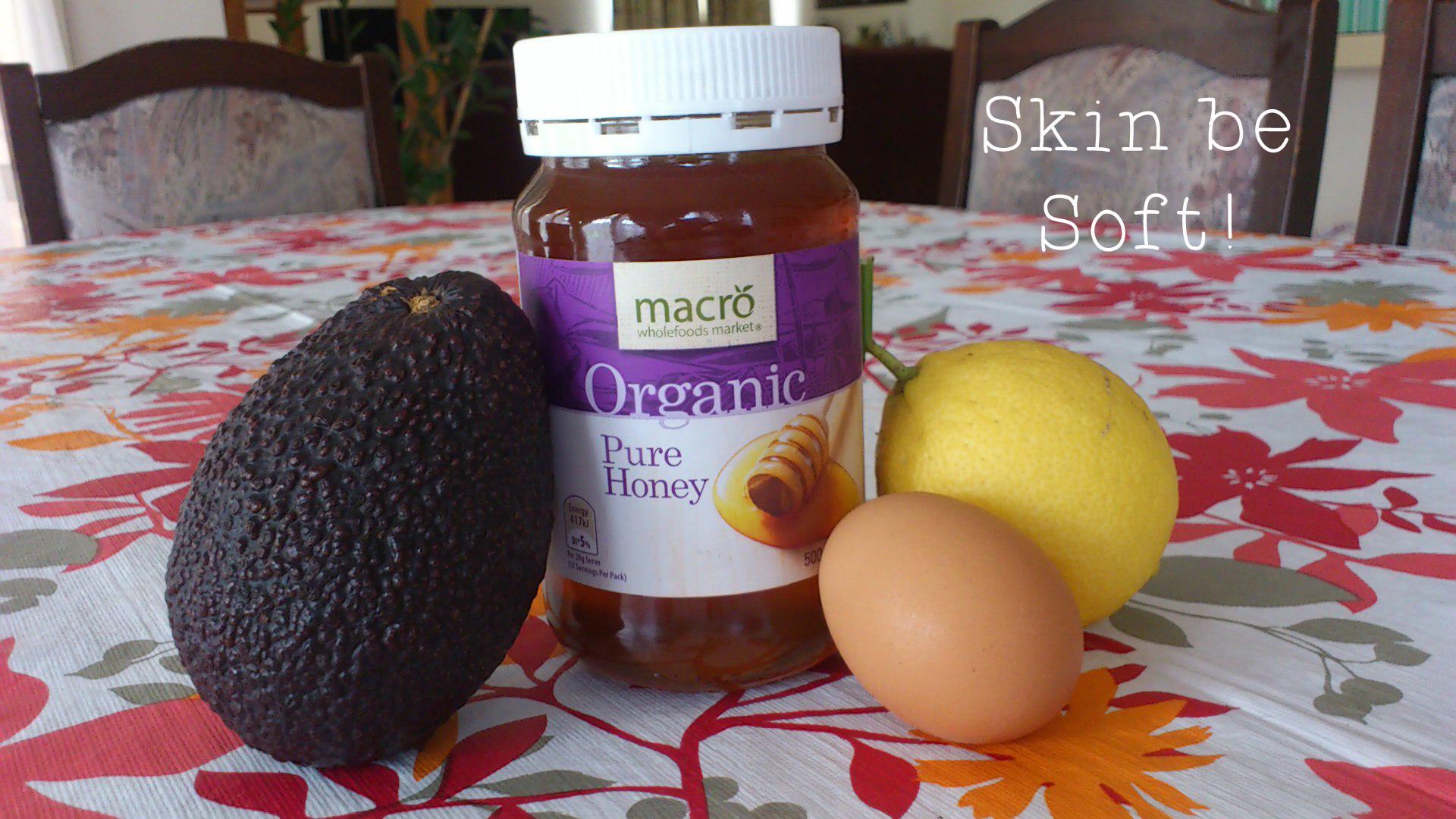 Avocado, lemon, honey and egg white face mask