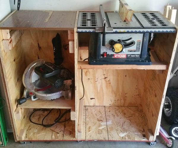 Table Saw/Miter Saw Space Saving Shelf